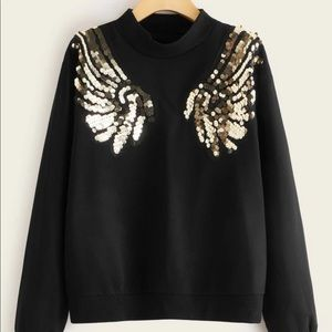 Tops - ✨NEW✨Mock- neck contrast sequin wing pullover